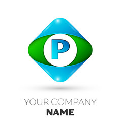 Realistic letter p logo in colorful rhombus vector