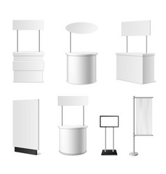 realistic promotional stands 3d white blank vector image