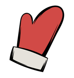 red mitten icon cartoon vector image