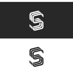 S logo monogram mockup isometric geometric shape vector