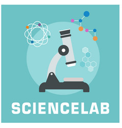 science lab microscope circle frame background vec vector image