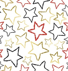 Seamless pattern with gold star doodles for xmas vector image
