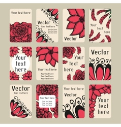 Set of business cards with doodling flowers vector