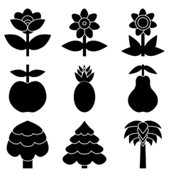 Set of simple black icon of flowers trees and vector