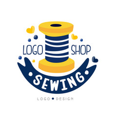sewing shop logo design dress boutique store vector image
