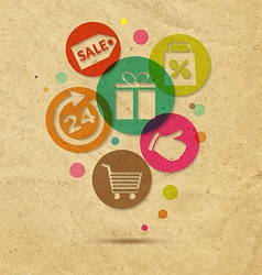Shopping Icons With Cardboard Background vector image