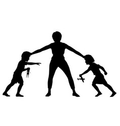 sibling rivalry silhouette vector image