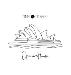 single continuous line drawing opera house vector image