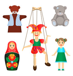 soft toys and dolls of wood and plastic set vector image