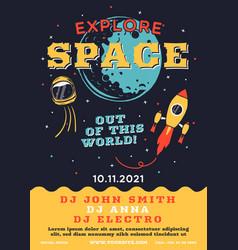 Space explorer flyer trending galaxy themed music vector