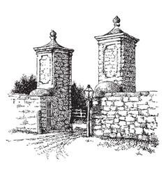 st augustine spanish gate vintage engraving vector image