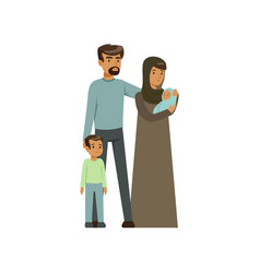 Stateless refugee family war victims concept vector