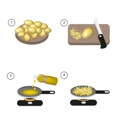 Step by step recipe of fried potatoes vector