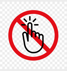 Stop hand finger sign no touch icon vector