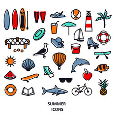 Summer icons black line set travel vacation and vector