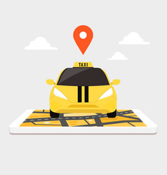 taxi on giant smartphone with city map on screen vector image