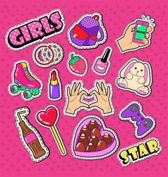 Teenager girl stickers patches and badges vector