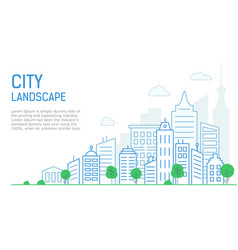 thin line city landscape on white background vector image