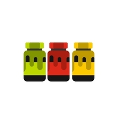 Three plastic jars with colored paint icon vector