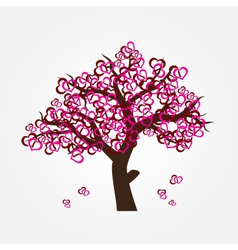 Tree with hearths for valentine or wedding eps10 vector