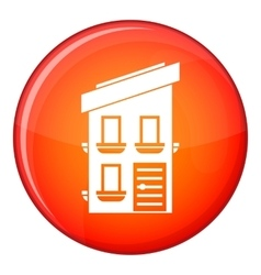 Two-storey house icon flat style vector