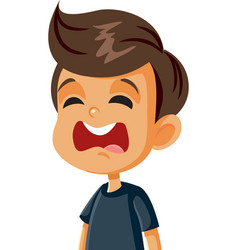 unhappy crying boy cartoon character vector image