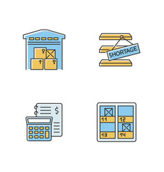 Warehouse management rgb color icons set goods vector