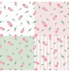 Watercolor pink roses Buds seamless pattern set vector