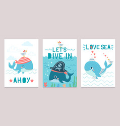 whale card cute marine animals blue whales happy vector image