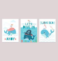 Whale card cute marine animals blue whales happy vector