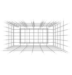 wireframe interior sketch style vector image