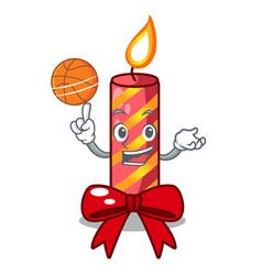 with basketball character christmas decoration vector image