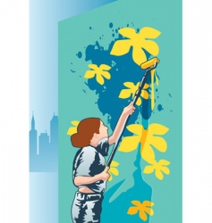 woman painter vector image vector image