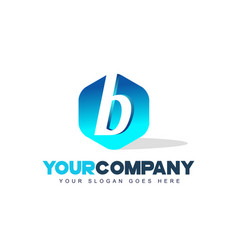 b letter logo hexagon shape modern design vector image vector image