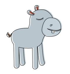 female hippopotamus cartoon with closed eyes vector image