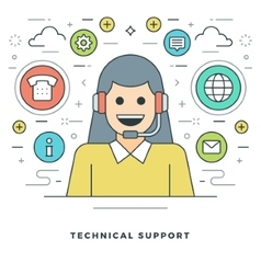 Flat line technical support concept vector
