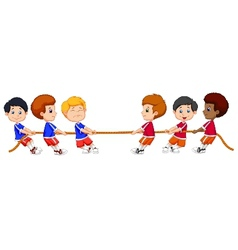 Group of children cartoon playing Tug Of War vector image vector image