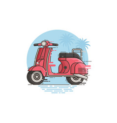 pink motor scooter riding vector image vector image