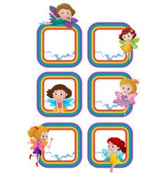 rainbow frame templates with fairies flying vector image