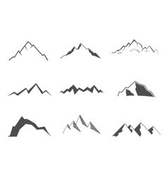 Set of mountain elements Outdoor icon Hand drawn vector image