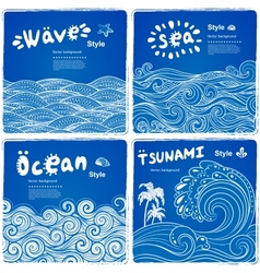 Vintage set of banners with ethnic waves vector image vector image