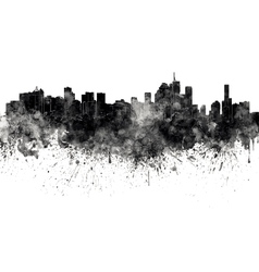 Brisbane skyline in black watercolor on white vector image vector image