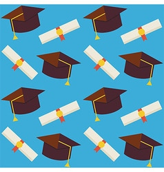 Flat Seamless Pattern Graduate from School Hat and vector image vector image