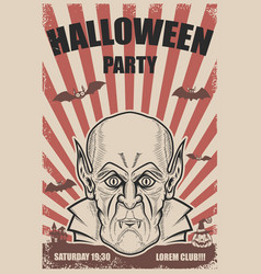 halloween party poster template vampire headtrick vector image vector image