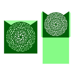 laser cut card temlate with mandala vector image