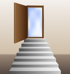 Stairs leading to an open door vector image vector image
