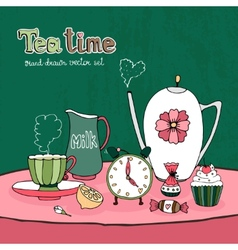 Teatime party card vector