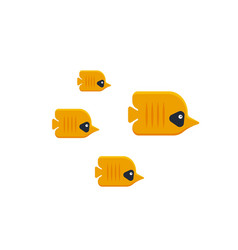 the flock of tropical butterfly fish isolated on vector image