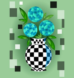 cubist bouquet with blue flowers in checker vector image
