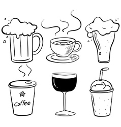 Doodle design of the different kinds of drinks vector image vector image